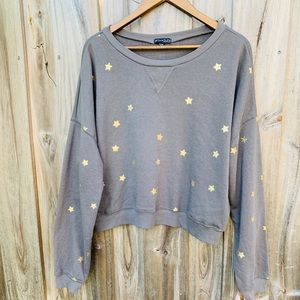 Cute Copped Gray Sweater With Gold Stars